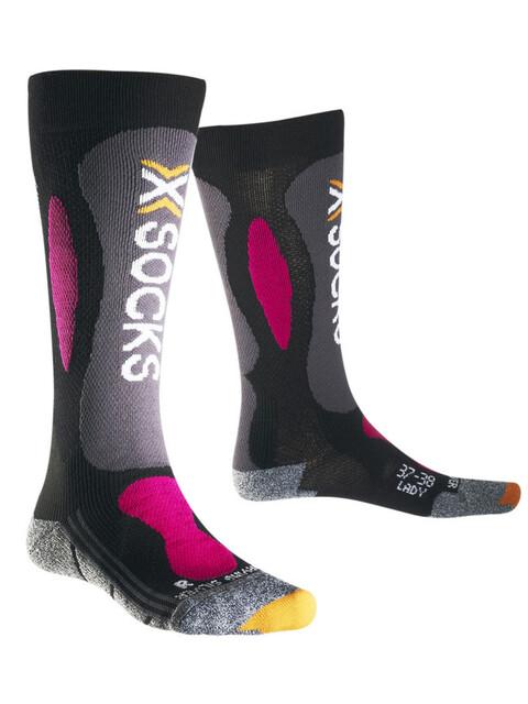 X-Bionic Ski Carving Silver Sinofit Technology  Skarpetki Kobiety różowy/czarny